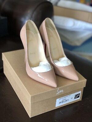 NIB Christian Louboutin Pigalle 120mm Patent Leather Pumps, Nude Size 38