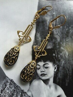 1920s Art Deco Jewelry: Earrings, Necklaces, Brooch, Bracelets Vintage beads art deco gold brass earrings  $17.99 AT vintagedancer.com