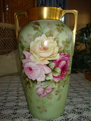 ANTIQUE HEINRICH &Co BAVARIA GERMANY HAND PAINTED SIGNED VASE, ROSES & GOLD, 12""