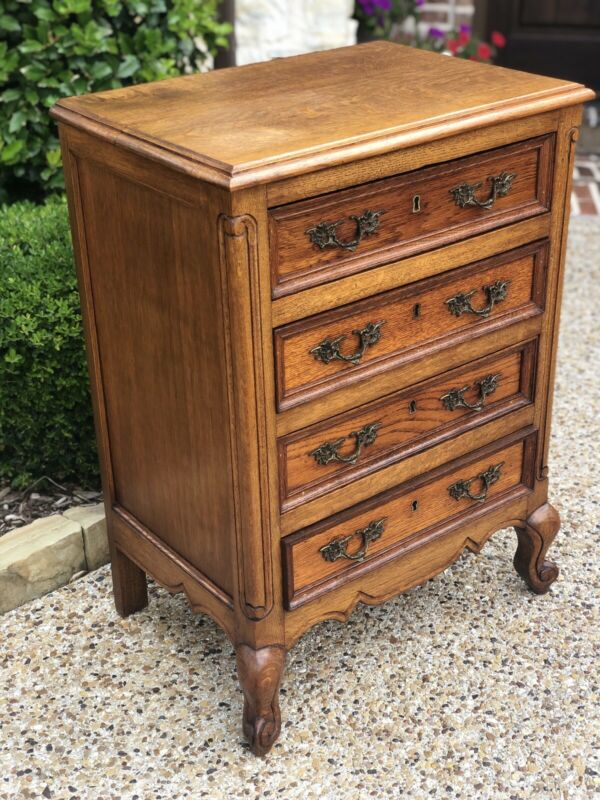 Antique Louis XV 4-Drawer Bedside Chest