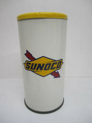 "Vtg Sunoco Logo 20"" Metal Towel Rag Bin Trash Can W/ Lid Advertising Garage Shop"