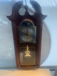 HOWARD MILLER GOLDEN OAK DUAL CHIMING WALL CLOCK 620-184 NEW