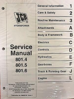 Jcb Service 801.4 801.5 801.6 Mini Tracked Manual