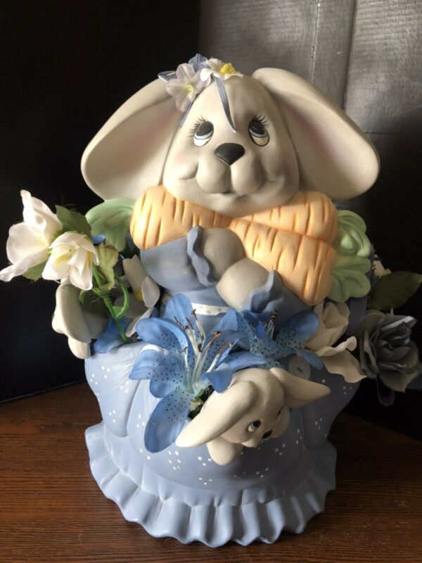Vintage Mother Rabbit & Babies  Hand Painted Ceramic Easter Bunny Centerpiece