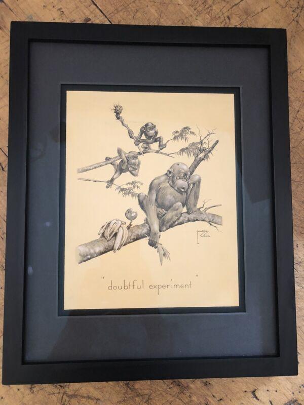 Vintage 1933 Wood Lawson Monkey Print Doubtful Experiment