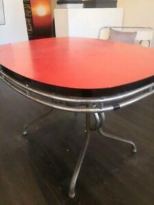 50s melamine table, slightly rusty chrome.