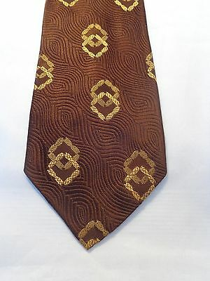 ARISTO CRAFT VINTAGE MENS TIE 1950'S 1960'S 1970'S FASHION FUN BROWN WITH GOLD