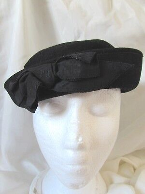 Vintage Belvedere Black 100% Wool with Bow Henry Pollak 40's Women's Hat Size 22