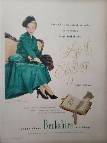 Vintage 1948 Berkshire Stockings Print Ads Ephemera Art Decor Dress by M Parnis