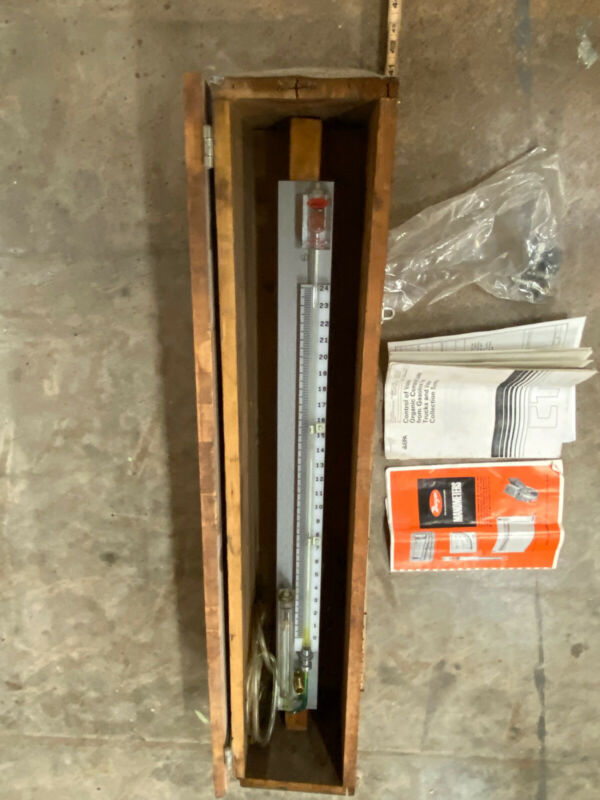 Large Dwyer Vintage Wall Mount Well Type Manometer In Wood Case