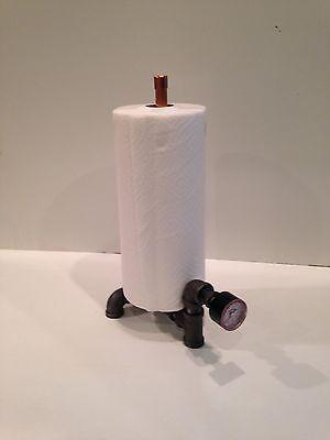Steampunk Industrial Copper Paper Towel Holder with vintage gauge