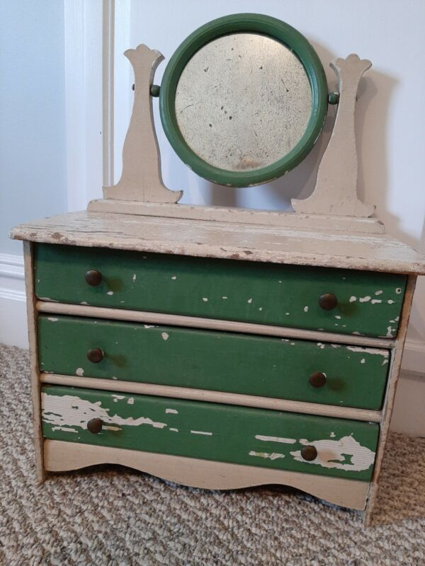 VINTAGE ANTIQUE DOLL DRESSER W/MIRROR -CHIPPY GREEN & CREAM -PERFECT W/ CHATTY!
