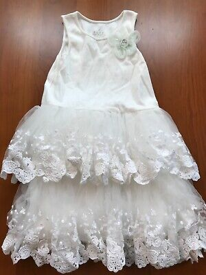 Girls Pippa & Julie Size 6X White, Lined Ruffle Tiered Tank Dress w/Embroidery