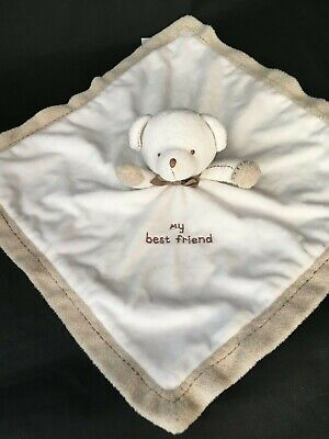 Carters Teddy Bear My Best Friend Baby Lovey Security Blanket Rattle White
