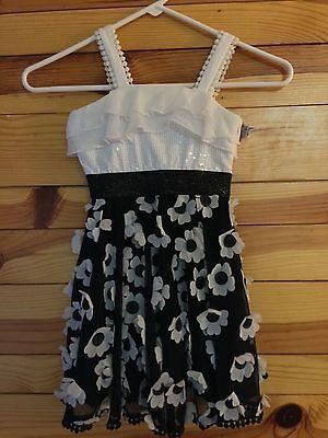 *LIPSTIK GIRLS* Black White 3D Flowers Sequins & Crochet Dress Full Skirt EUC 4 (Full Skirt Flower Girl Dresses)