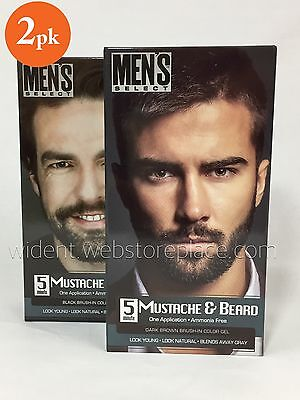 2Pk Mens Select Mustache   Beard Color Dye Black Dark Brown In 5 Minutes