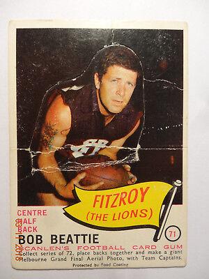 Bob BEATTIE-(Fitzroy)-1966 SCANLENS Card Series - Card No. 71 -Poor