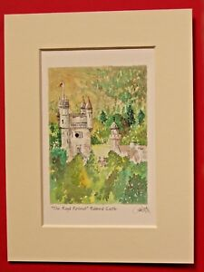 BALMORAL CASTLE ROYAL SCOTLAND CHARMING MOUNTED WATER COLOUR PRINT 8X6 OVERALL