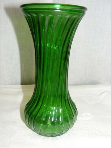 """Vintage Green Hoosier Glass 7"""" Vase Stretch Ribbed Design"""