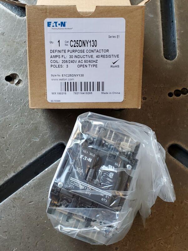 Eaton C25DNY130 Definite Purpose Motor Starting Contactor 30A 208-240VAC Coil