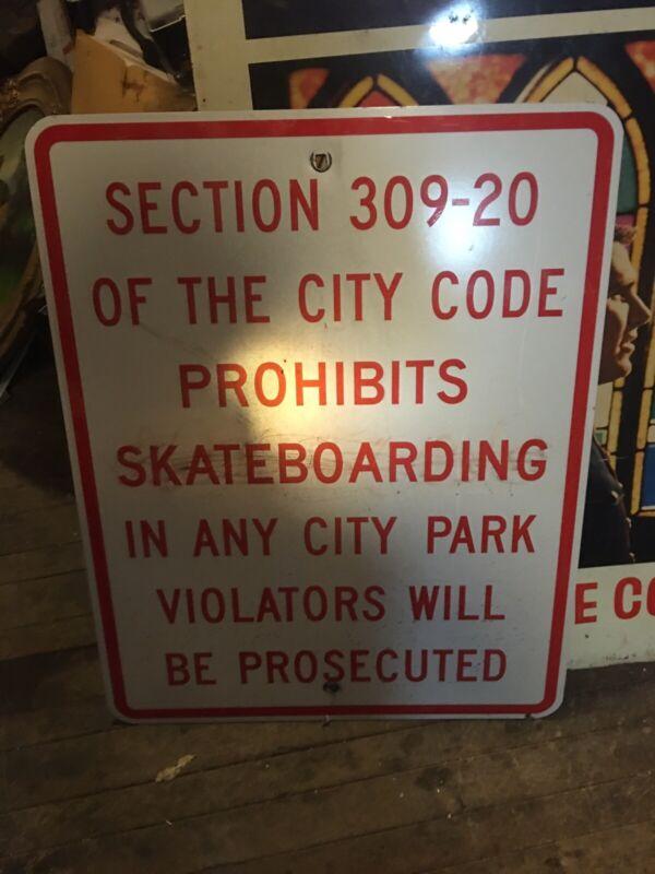 Vintage Rare Old Police Skateboarding Violation Sign