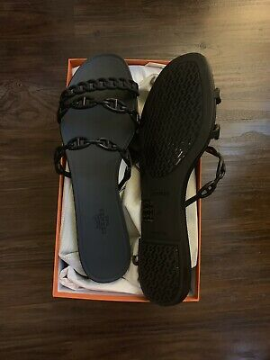 80a3b7ac0180 Hermes Rivage Jelly Sandals Size 41 Black (H181169Z)