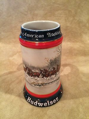 Vintage~Beer~Mug~Stein~Glass~Budweiser~Beer~1990~Brazil~American Tradition~