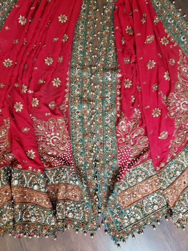 "Vintage Indian Wedding Dupatta Sequins Scarf Beaded Stunning 93"" x 42"""