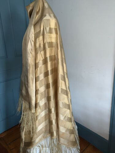 Beautiful Antique C1880 Gold Striped Silk Shawl Hand Tied Fringed