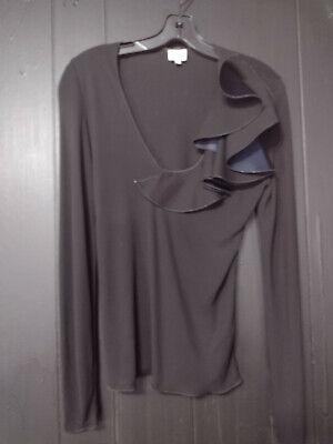 Vintage Armani Collezioni black with ruffled neck line blouse - Size 8