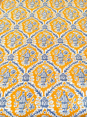 Vintage Wallpaper Chinoiserie Oriental Orange & Blue Motif