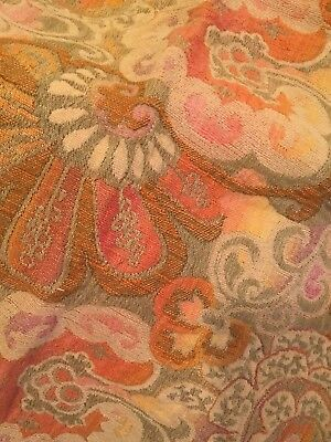 VINTAGE Italian Tapestry Fabric Table Cover Blanket with Heavy Fringe 50x80