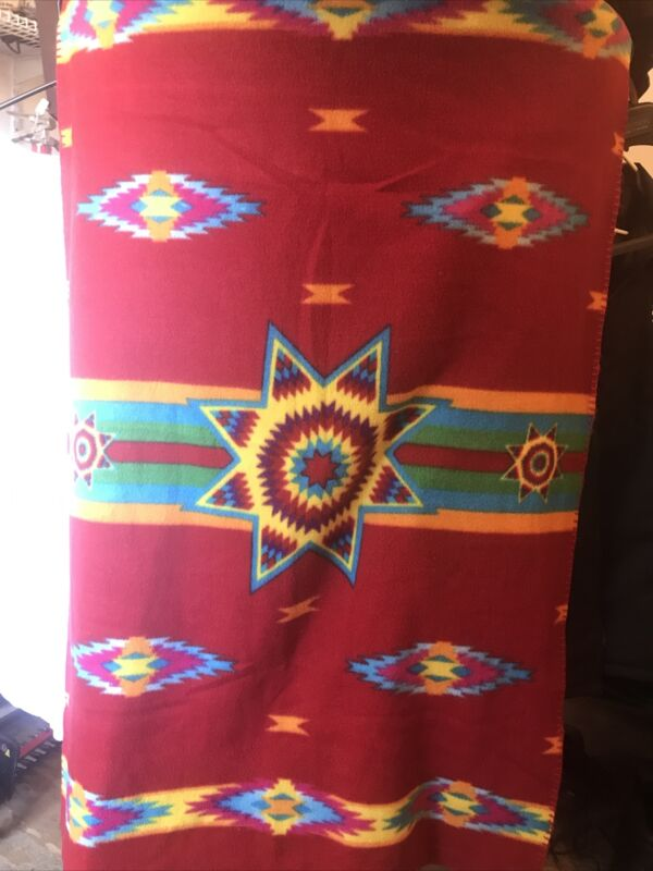 """ST LABRE INDIAN SCHOOL Throw Blanket Red Yellow Blue Southwestern Print 35""""x50"""""""