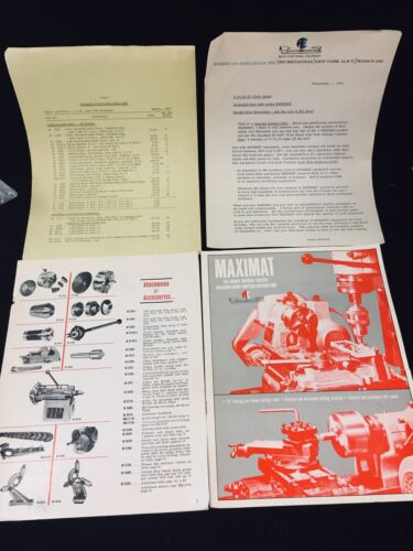 1962 EDELSTAAL MAXIMAT MINIATURE MACHINING TOOL SALES BROCHURE + MORE