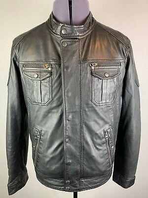 SCHOTT NYC LIVERPOOL BLACK GOAT LEATHER TRUCKER BIKER JACKET LARGE RRP £399 BNWT