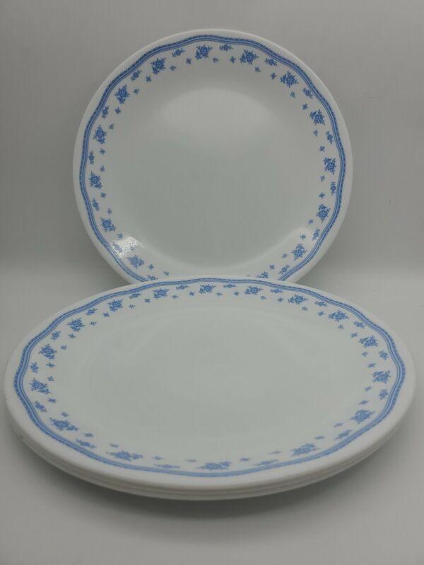 4-Corning Ware Corelle Morning Blue Dinner Plates 10.25