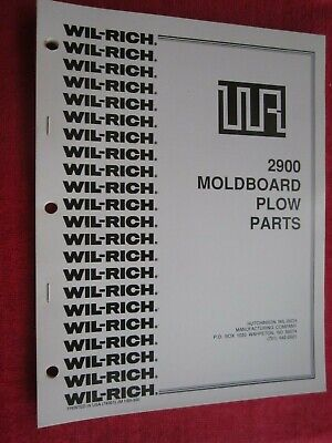 Wil-rich 2900 Moldboard Plow Parts Book Catalog Manual
