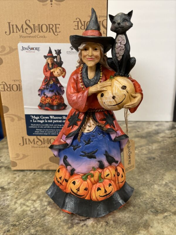 """JIM SHORE 10"""" WITCH BLACK CAT  Crows Pumpkin -""""MAGIC GROWS WHEREVER SHE GOES"""
