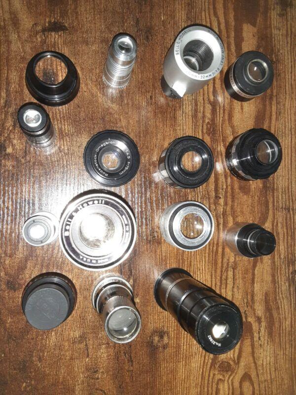 """Bell & Howell 16mm 2"""" F 1.6 (LOT of 15) 19mm 20mm 8mm Kodak Kalcor Rodenstock ☆♤"""