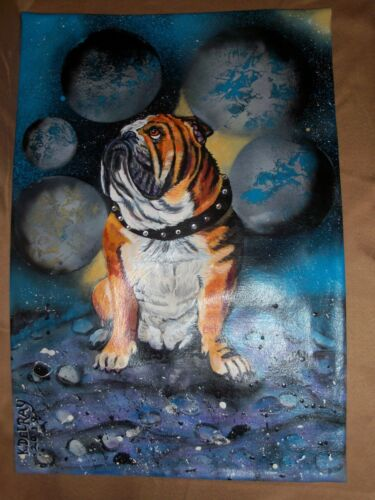 "Custom painted ""PLANETS"" WALL HANGING from YOUR dog photo hand painting canvas"