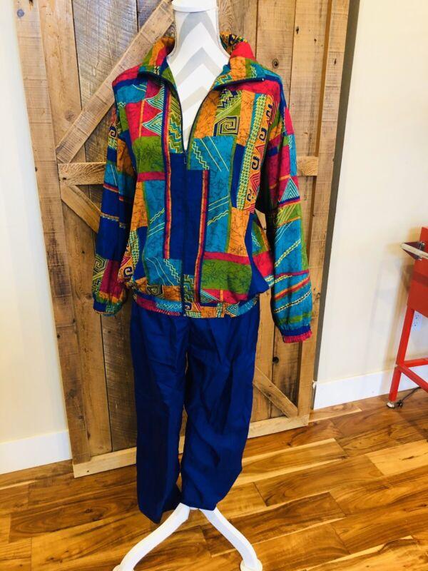 Vtg Retro 80s 90s Color Block Windbreaker TRACK SUIT Aztec Jacket Pants Size M