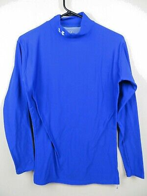 Womens Under Armour Cold Gear Mock Neck Large L Long Sleeve Compression Blue