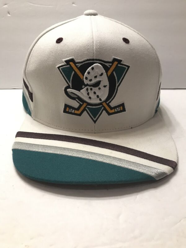 Mitchell And Ness Anaheim Mighty Ducks Shark Tooth Black Teal White Snapback Hat