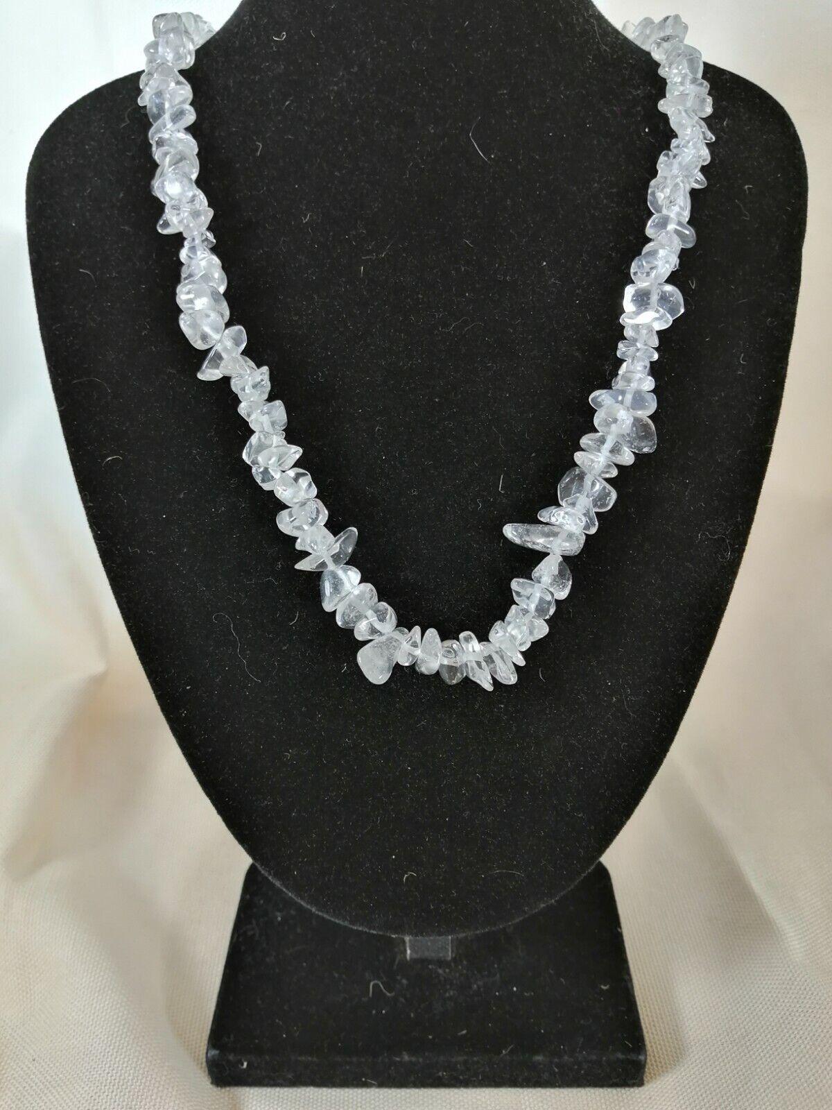 """Clear Quartz Chip Necklace 16"""" to 34"""", Long Necklace, Short Necklace"""