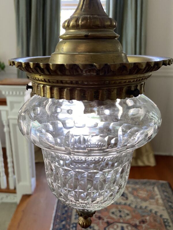 PAIR French Cut Glass and Ormolu Pendant Light Fixtures Antique Vintage