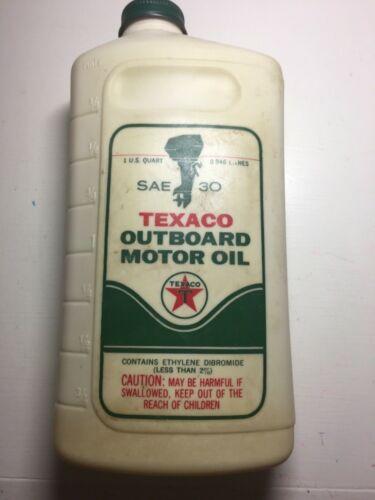 VINTAGE TEXACO OUTBOARD MOTOR OIL SAE 30 ONE QUART PLASTIC BOTTLE - EMPTY
