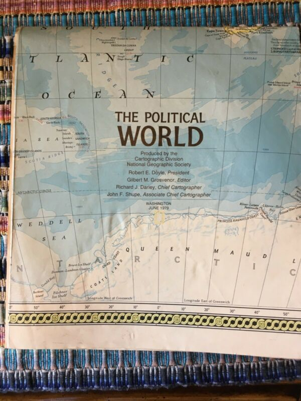 1979 National Geographic Political World Map - from Washington