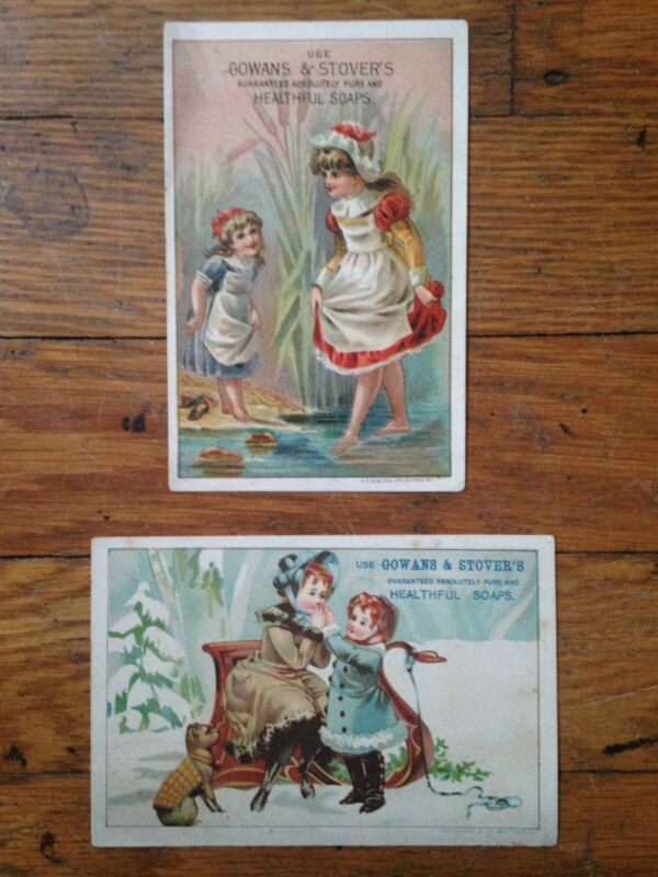 Antique Victorian Gowans & Stovers Soap Trade Cards Girls Dog Sleigh Buffalo Ny
