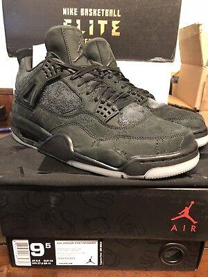Kaws Air Jordan Retro 4 IV Black Size 9.5 930155-001 New Authentic