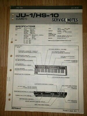 Original ROLAND Service Notes Manual - JU-1/HS-10 Juno-1 Keyboard - 1st Ed. 1985
